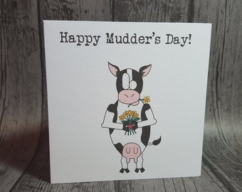 """Cow animal pun """"Happy Mudder's Day"""" Mother's day funny card by Relephant Cards. Handmade, recycled, customisable, square blank with envelope"""