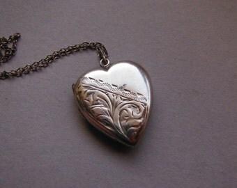 Vintage Etched Silver Heart Locket