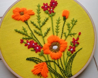 Embroidered Floral Hoop Art / Wall Art, Vintage 70s Minuet Red & Orange Wildflowers Embroidery Textile / Fiber Flower Retro Gift For Her