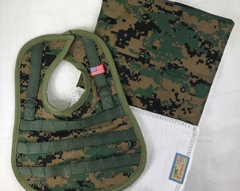 Seabee Camo Tactical Bib with Burp Cloth