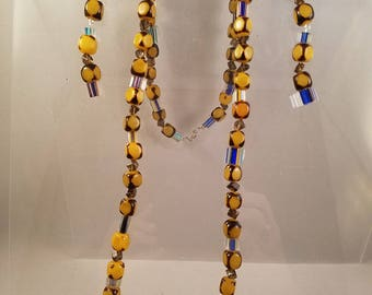Bright Cane Glass Bead and Yellow Cube Necklace and Dangle Earrings