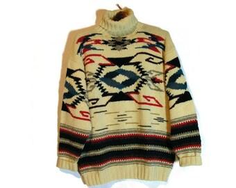Ralph Lauren Vintage Sweater Ralph Lauren Vintage Indian Blanket Sweater Ralph Lauren Aztec Sweater Retro Ralph Lauren Vtg 90's Wool Sweater