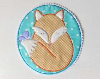 Patch Applique Fox Butterfly Lila Turquoise Orange XXL,  Embroidered Iron On Patch Applique  Fox Butterfly Lila Turquoise Large
