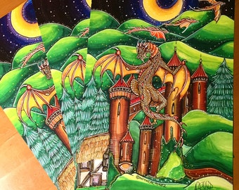 Crawler A4 digital print dragon castle whimsical surreal fantasy night mountains story pop art moon stars gift illustration painting