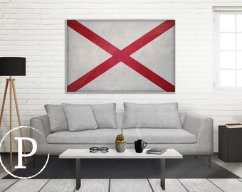 Alabama Flag Canvas, State Flag on Canvas, Large Wall Art, Alabama Flag, Large Canvas Wall Art, Vintage Flag on Canvas