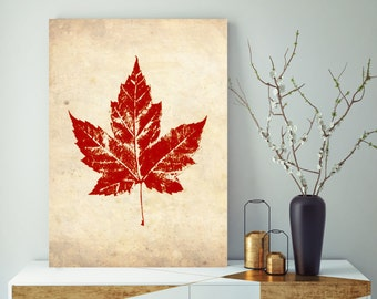 Red Maple Leaf, Printed Marketplace, Office Decor, Rustic Wall Decor, Vintage Wall Art, Vintage Wall Decor, Vintage Home Decor