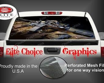 Gun Rear Window Graphic Tint Decal Sticker Truck SUV Van Car