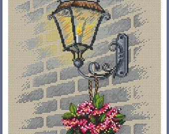 Сross stitch Street light, cross stitch pattern, PDF, modern cross stitch.