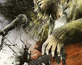 Kurt Cobain original canvas / NIRVANA art work, pop-art, rock,