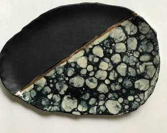 Black Marble and 22kt Gold Tray