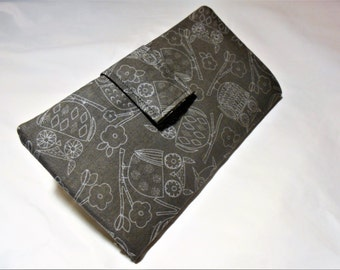 Grey Owls Slim Profile Wallet, Owl Wallet, Gray Owls wallet, Owl gifts for Women, Slender wallet, Handmade Wallets, Owl Checkbook cover