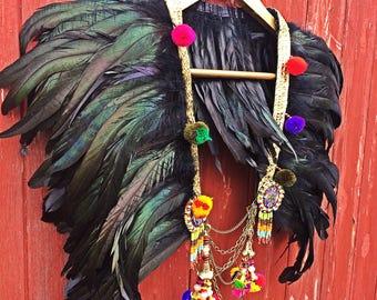 Boho black feather festival collar, feather capelet, festival cape with pom pom trim, Burning Man style capelet, feather festival collar