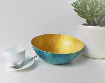 Bowl gold and green, recycled kraft paper