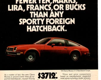 1978 Chevy Monza vintage magazine ad wall decor man cave gift (1703)