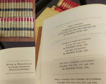 FREE SHIPPING: Vintage encyclopedia, 1965 edition of Funk and Wagnalls Standard Reference Encyclopedia, full set in very good condition