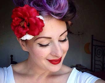 Rockabilly Vintage Inspired Pin Up 40's 50's   Hair Flower/Facinator