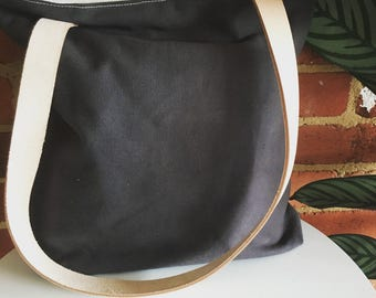 Grey fully lined canvas tote bag/shopping bag/bag with long leather handle interior zipper pocket and magnetic closure