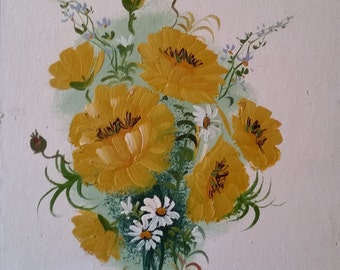 """Original Oil Painting of Yellow Flowers + Daisies 