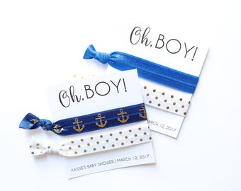 Oh, Boy Baby Shower Personalized Hair Tie Favors | Custom Oh, Boy Favor | Oh Boy | Baby Shower Favors | Baby Shower | Shower Favors