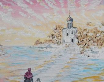 Picture. Russian landscape. Cardboard 60х50 sm gouache Active