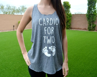 Cardio for Two Tank Top, Womens Maternity Tank, Cardio for Two, Pregnant Workout Tank, Pregnancy Gym Tank, Funny Maternity Announcement