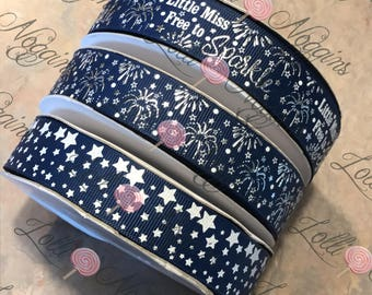 "Little Miss Free To Sparkle  Blue,  Patriotic Fireworks  4th of July    USDR 7/8"" ribbon   Coordinated grosgrain set for bows and crafts"