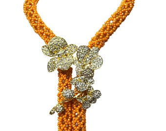 Orange & Gold Balls African Beads Bridal Wedding Party Bridal Jewelry Set