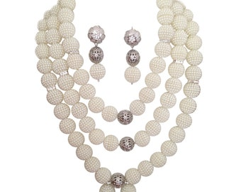 White SIlver 3 Layers African Beads Embelished with Silver Balls Wedding Bridal Party Necklace Jewelry Set