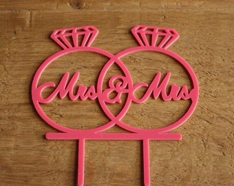 Hot pink Mrs. and Mrs. cake topper