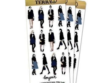 Bonjour French Fashion Removable Matte Sticker Sheets Set