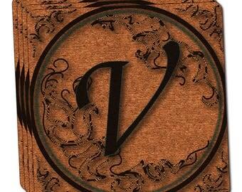 Vintage Letter V Initial Black Tan Thin Cork Coaster Set Of 4