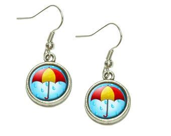 Umbrella In Rain Dangling Drop Charm Earrings