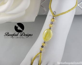 Yellow Beach Barefoot Sandal, Yellow Barefoot Sandal, Barefoot Jewelry, Women's Barefoot Sandal, Yellow Beach Jewelry