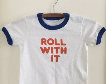 children's roll with it ringer tee