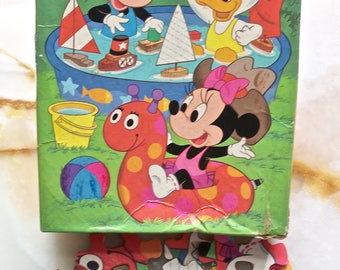 Disney Babies Puzzle! Minnie, Mickey, Donald, Swimming Pool, Boats, Golden Puzzle, 63 Extra Large Interlocking Pieces, Ages 4-8, 1984, Fun