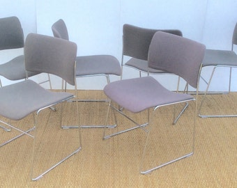 Danish set of 6 David Rowland 40/4 chairs with padded seats and back support .