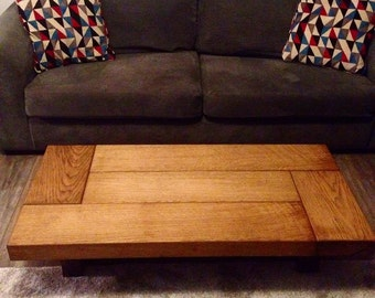 oak coffee table, sleeper coffee table, rustic coffee table, dark wood coffee table, low coffee table, handmade coffee table