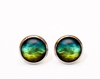 Astrology jewelry, Space jewelry, Galaxy Jewelry, Galaxy Earrings, Space Stud Earrings, Science Jewelry, Turquoise Earrings, Nebula Universe