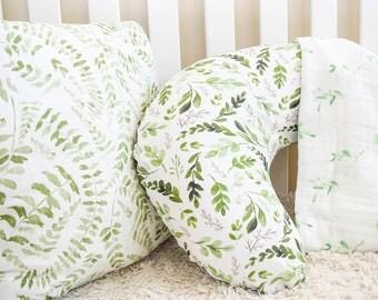 Leaves Boppy Cover, Greenery, Nursing, Pillow Cover, Woodland, Boho, Tribal, Breastfeeding Pillow, Slipcover, crib bedding, greenery bedfing
