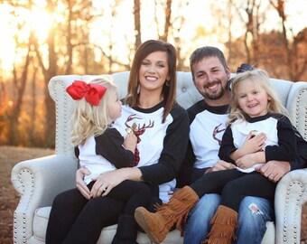 Buffalo Plaid Deer Raglan / Christmas Baseball Tee / Buffalo Plaid / Family Christmas Shirts / Family Christmas / Family Christmas Pajamas