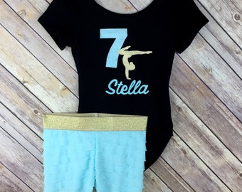 Gymnastics Leotard Outfit Birthday Personalized Gymnast Aqua and Gold