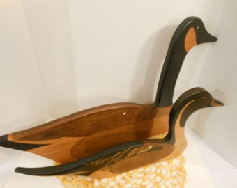 Vintage Woodcarving Painted Decoys/Figural Goose and Duck Sculptures