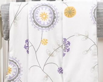 Emma (Lavender & Gray) Minky Receiving Blanket | Faux Fur Baby Blanket