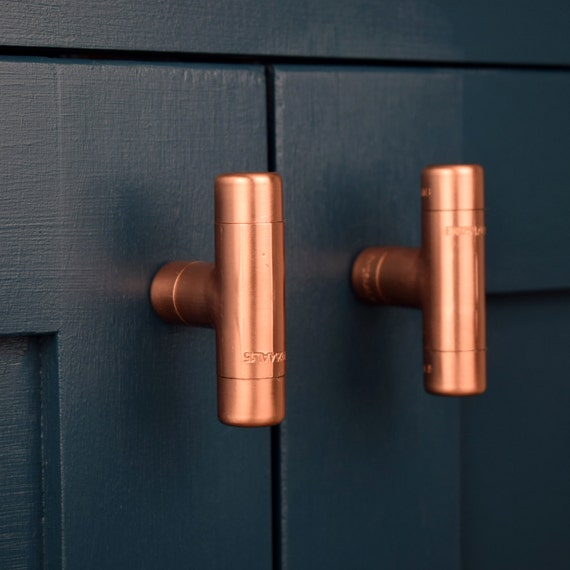 Modern copper t knob contemporary drawer pull handle for Contemporary cabinet pulls and knobs