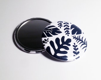 Jungle Leaves Pocket Mirror Illustrated Compact Mirror Navy Blue
