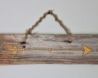 Yellow Arrow on Barn Board, Wall Hanging, Rustic Sign