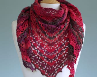Cherry red crochet shawl scarf