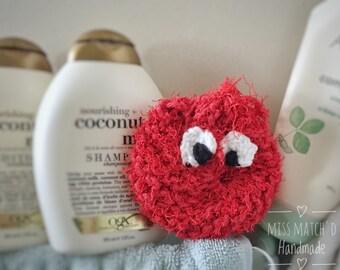 Happy Red Bath Buddy - Cotton Bath Monster Scrubber - Funny Bath Products - Handmade Loofah - Cute Red Bath Pouf - Exfoliating Washcloth