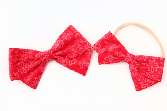 Baby Girl, Toddler bow, fabric bows, Red and pink floral