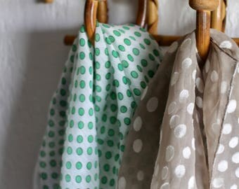Beautiful Green and Blue Polka Dots on White Scarf - dainty kerchief